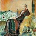 """Autorretrato de Edvuard Munch con la gripe del 1919, llamada """"española"""" por los franceses y estadounidenses."""